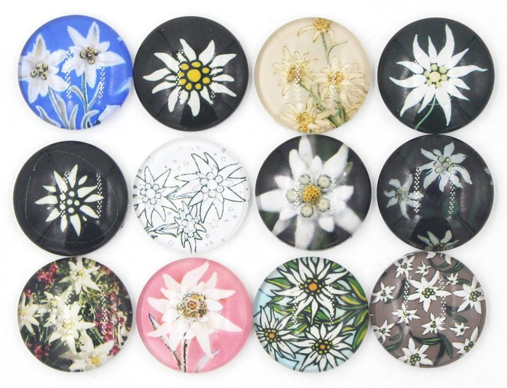 New Arrival Customized Interchangeable DIY 18mm Cabochon Glass Edelweiss Button for Snap Jewelry Bracelet Necklace Ring Earrings
