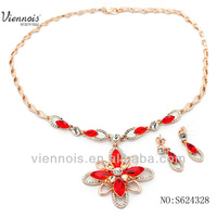 Red crystal necklace and earring,fashion gold plating wholesale jewelry