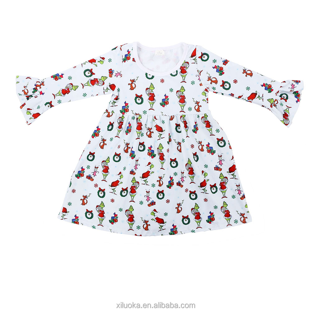 Long Sleeve Fall Boutique Girl Clothing Kids Ruffle Sleeve Clothes Milk Silk Girls Dresses