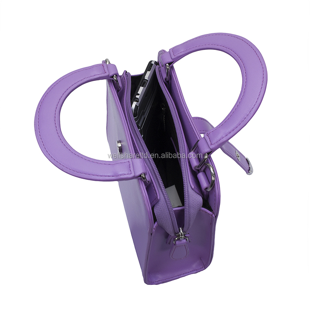 Shenzhen Female Stripe PU Purple Chain cosmetic Women Handbag with Handles