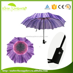 3 fold 21inch X 8 ribs umbrella print fabric umbrella shaft