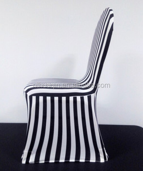 Spandex Banquet Chair Covers Black And White Stripe , Striped Spandex Chair  Cover