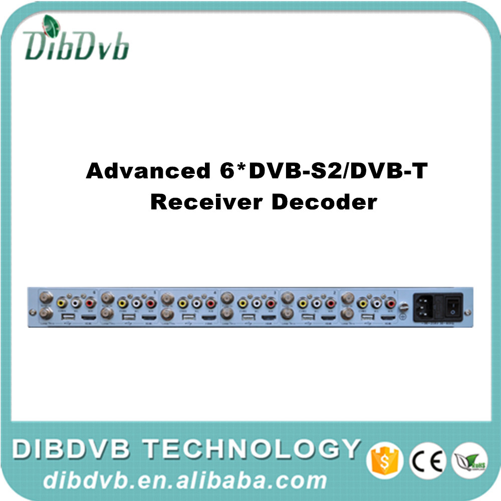 Satellite decoder with 6 tuners to AV and HD MI digital tv decoder to mpeg2/h.264 cable tv digital encoder and analog tv modulat