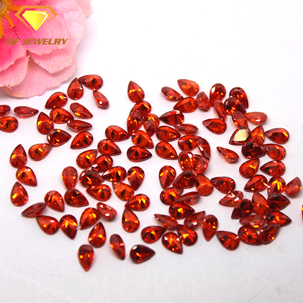 synthetic gem for sale pear cut orange red cz stone