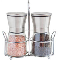 manual pepper and salt mini stain steel grinder with rack /amazon hot sell glass bottle mills