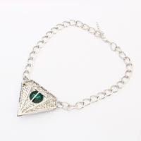 Imitation diamond jewelry fashion women silver necklace chains thin diamond shaped indian emerald silver necklace PN2727