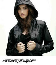 ladies hood jacket in leather