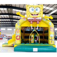 EN14960 certified popular cartoon character inflatable bouncer combo with slide