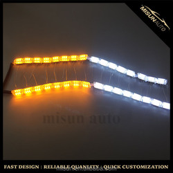 DC12V-24V Crystal car LED Daytime Running Light high power flexible White+yellow slim LED DRl