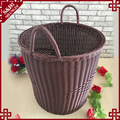 Promotion high quality round shape with handles rattan plastic basket for laundry