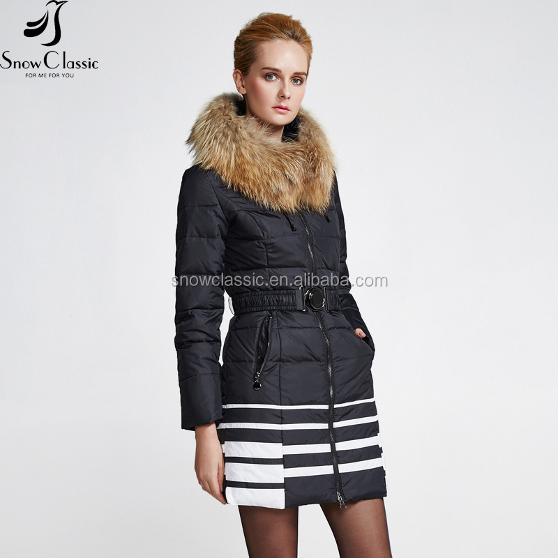 High Quality Latest designs Real Fur Trim Hooded Winter Fashion Women Long Coat Padded Duck Down wholesale