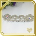 Custom wholesale crystal rhinestone iron on applique for bridal sash garter FRA-088