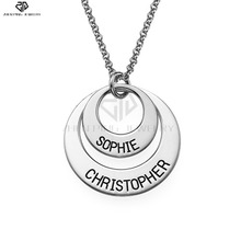 Two Open Circles Necklace with Engraving Personalized Nameplate Pendant Old English style Name Jewelry