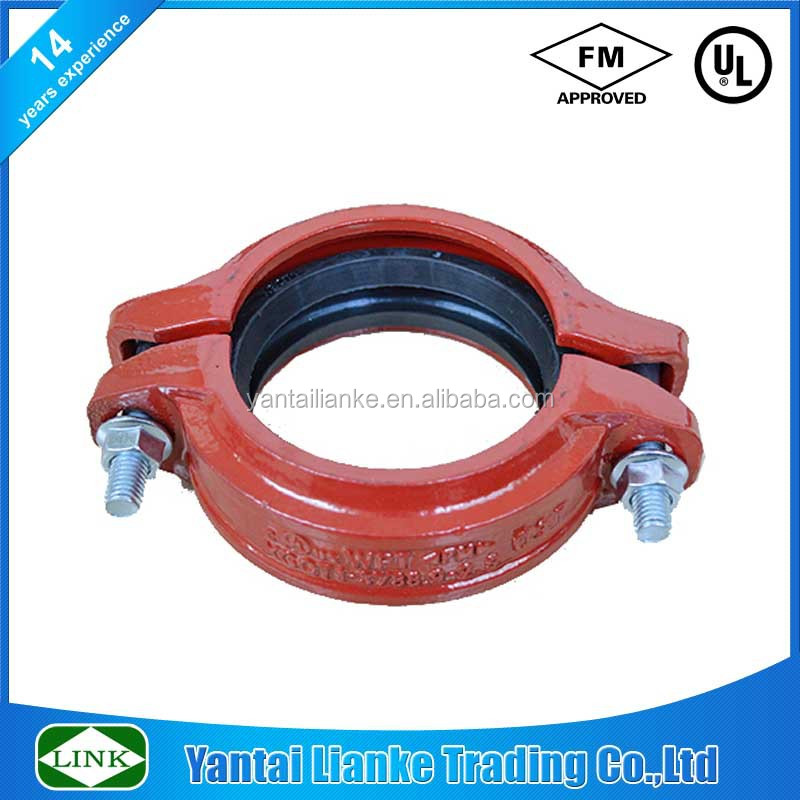"FM/UL ductile iron grooved 1"" dn25 33.4mm fitting and reducing coupling mould painted"