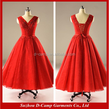 WD006 Red christmas tea length wedding dress patterns