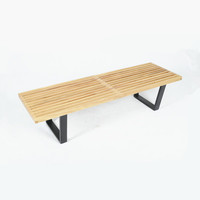Modern Patio furniture design solid wood patio bench with flat baking base