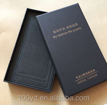Customized Black color Hot gold foil printing hard cover OEM cell phone case Packaging box