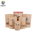 Water Proof Stand Up ZIplock Kraft Paper Bag with Clear Window