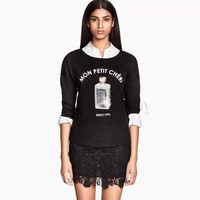 2015 Women Black Perfume Bottle Sequines Embroidery Long Sleeve T-shirt Casual Pullovers for Wholesale Haoduoyi