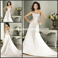 WD1412 Old Fashioned Strapless Satin Applique Bodice A-line Wedding Dress