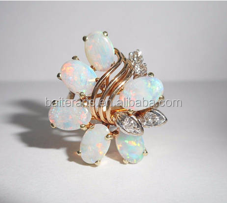 14K Yellow Gold Plated Oval Cut White Fire Opal And Clear CZ Zircon Diamond Women's Pretty Cluster Ring