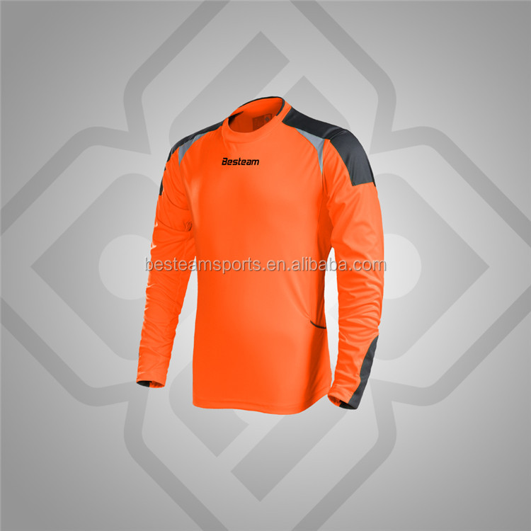 Professional customized long padded sleeve soccer jersey football goalkeeper shirt