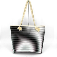 Factory Direct Large Capacity Customized Striped Canvas Beach Tote Bag