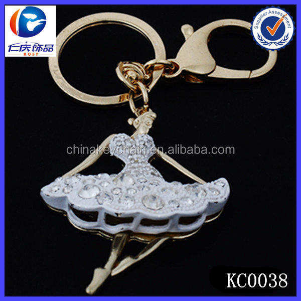 promotion beautiful girl dance crystal keychain