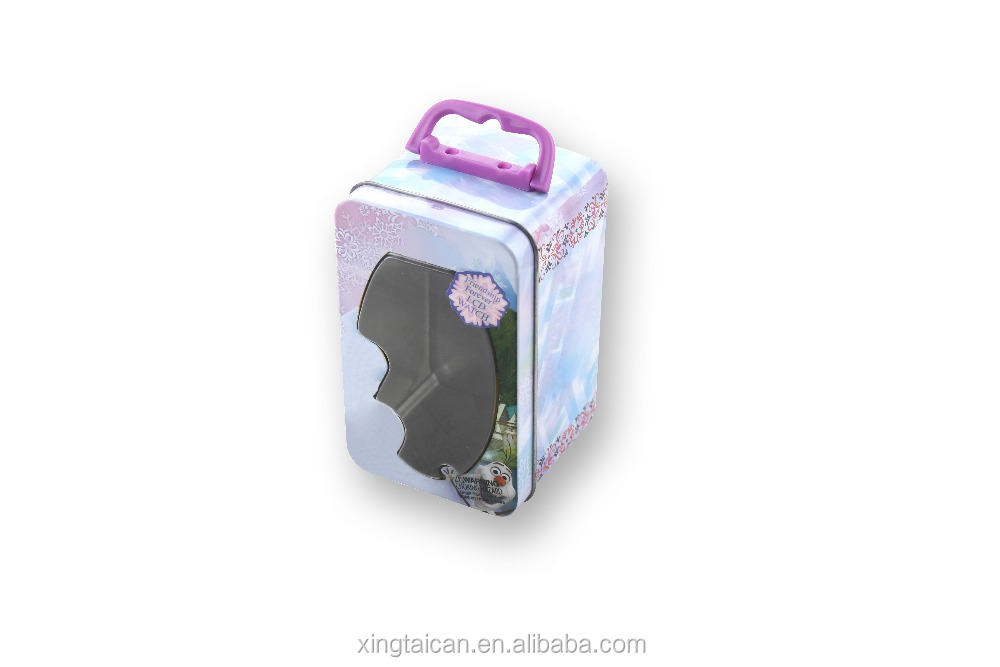 Lovely cartoon metal watch display box with plastic handle clear PVC
