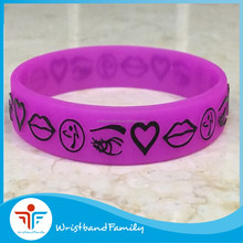 Purple embossed printing silicone wristband /cool silicone bracelet for adult size