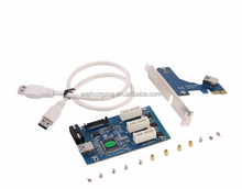 Mini PCIe 1 to 3 PCI express 1X slots Riser Card Expansion Splitter adapter