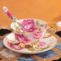 200cc European ceramic porcelain coffee mug with saucer coffee cup and saucer set with spoon