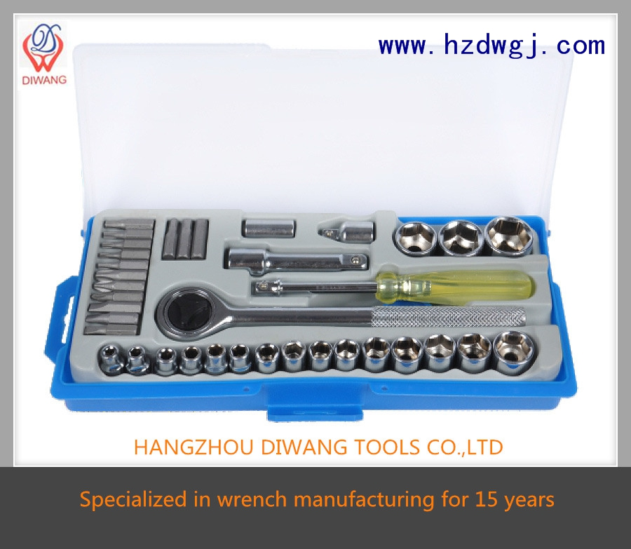"hot sale high quality free sample hand tools 38pcs wrench set (1/4"")"