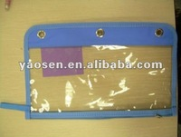 clear PVC pencil pouch witn blue 600D binding