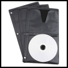 Black CD /DVD Plastic Refill Sleeve (4 Discs) for CD Wallet and Ring Binder. 3 Binder Holes for 4 CD /DVD Media Discs Storage.