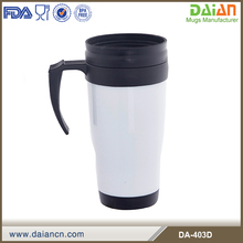 14oz Hot Sale double wall plastic tumbler mugs with handle