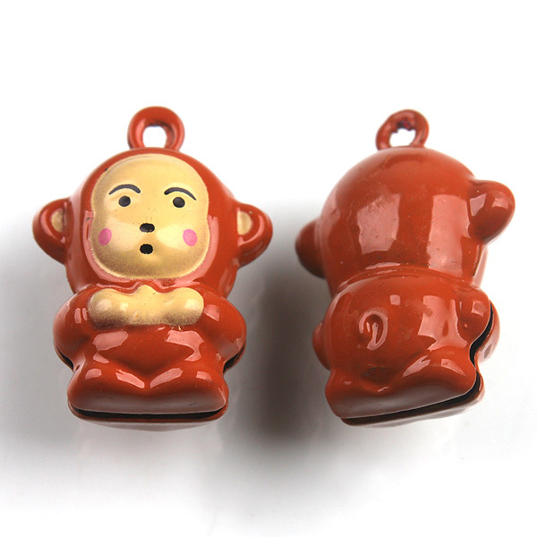 30pcs/lot Copper Jingle Bells Coffee Monkey Bell Fit Cell Phone & Keyring & Party Decoration 26*18*12.5mm 200392