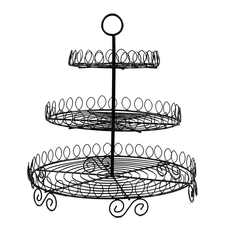 Black coating metal cupcake stand / 3 tier round cake display rack