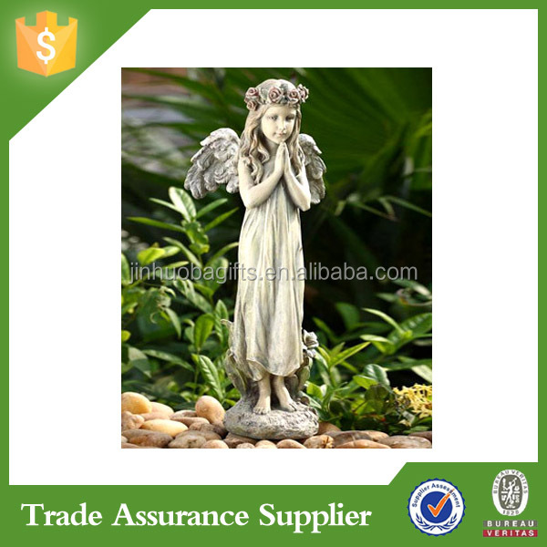 Polyresin Decorative Garden Decoration Angel Statue Candle Holder