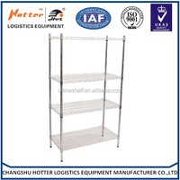 Good quality sell fast Stainess Steel Chrome Wire Storage Shelving showroom display wire shelving