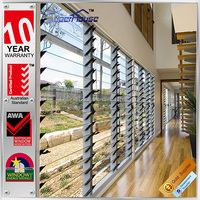 Australia AS2047 standard commercial system adjustable blade aluminum frame house window louvers with motor