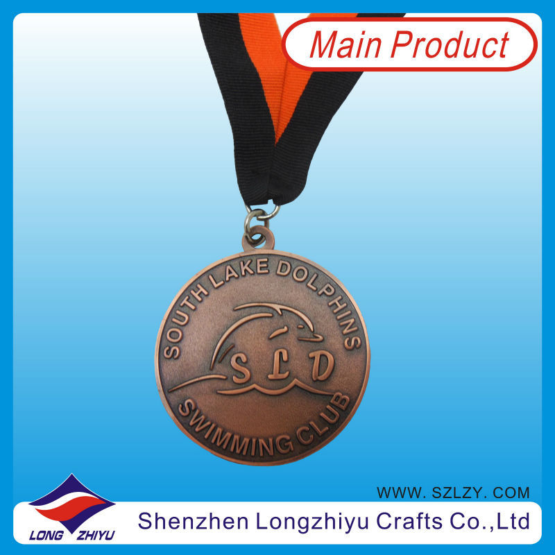 Swimming Club Medals/Dolphin Medals/Swimming Medals With Red and Black Ribbons