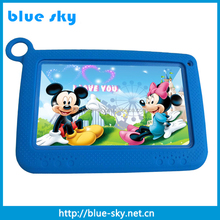 7 inch kids tablet pc RK3126 cpu 512MB+8GB, 0.3+2.0MP built-in learning application, silicone case