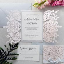 Customized Silver Glitter Blush Lace Laser Wedding Invitations with Ribbon