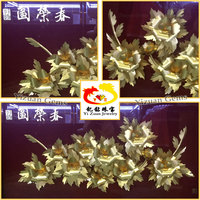 999% Pure Gold Leaf casting Flower rose Gift , gold mini craft flowers