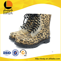England style leopard pattern high heel rain boots shoes for women
