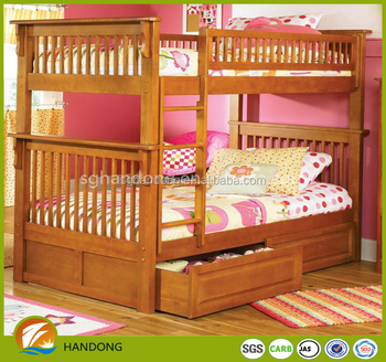High quality brown oak wood storage bunk beds for kids