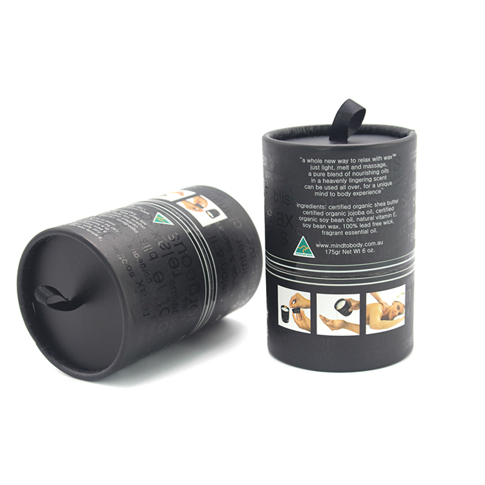 Black biodegradable kraft paper core tube wholesale round candle box