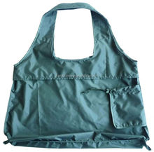 Reusable integrated foldable shopping tote bag with small drawstring pouch