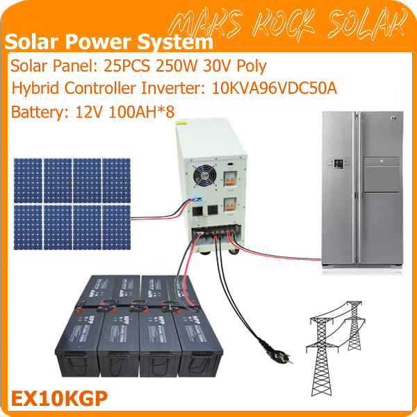 10KVA Off Grid Solar Power System for Residential Use Contains 25PCS 250W Solar Panel 1 Set 10KVA Hybrid Controller Inverter